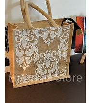 White crown design jute bag