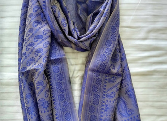 Light Blue Faux Silk Stole