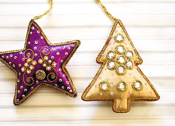 Star Tree Christmas Hanging Pair