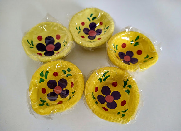 Yellow Floral Diya Set