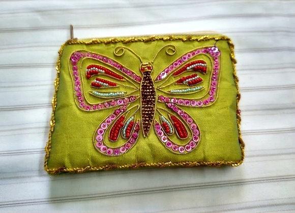 Zardozi Butterfly Green Zipper