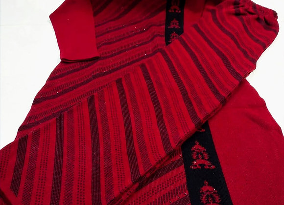 Semi Woolen Red Kurta Palazzo Set