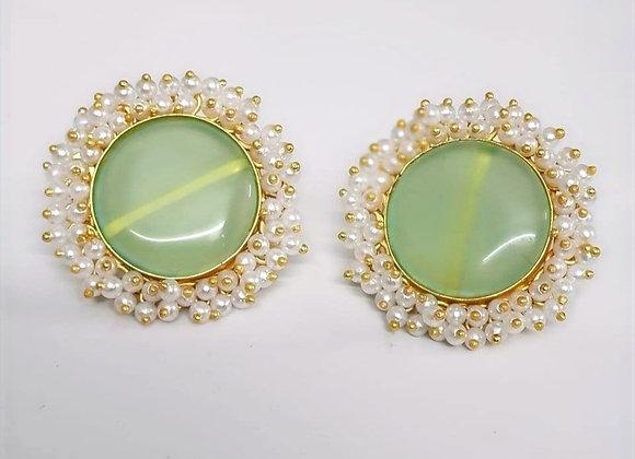 Sea Green Gemstone Stud Earrings