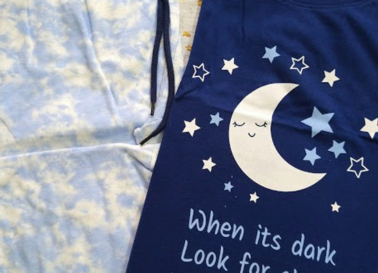White & Blue Moon Night Suit
