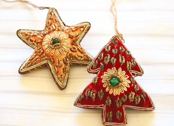 Tree Star Christmas Hanging Pair