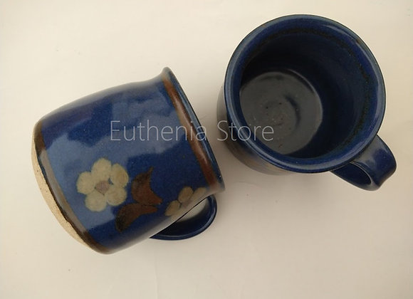 Hand Glazed Blue Floral Cups (Set of 2)