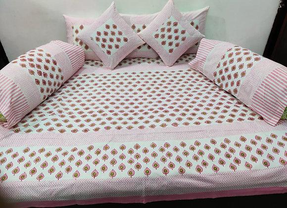 Cotton White and Pink Diwan Set