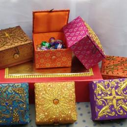 Handcrafted zardosi work gift boxes