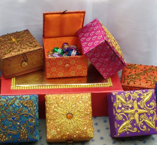 Handcrafted zardosi work gift boxes