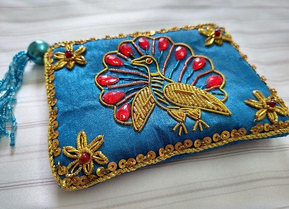 Blue Zardozi Peacock Zipper Coin Pouch