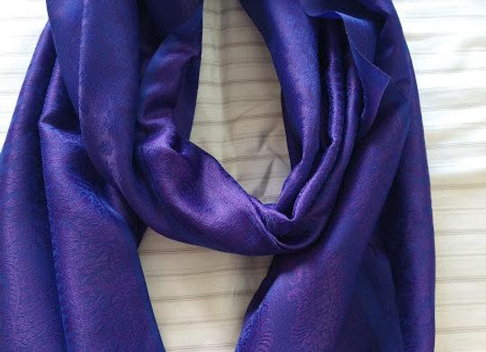 Dark Blue Faux Silk Stole