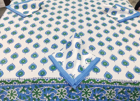 Hand-block Blue White Table Cover