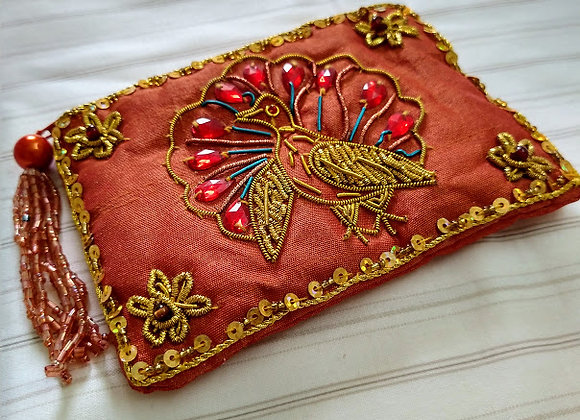 Red Zardozi Peacock Zipper Pouch