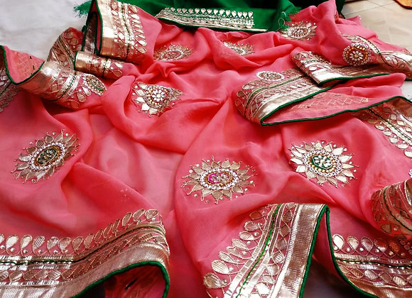 Pink & Green Gota Saree