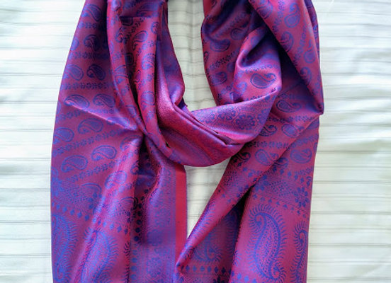 Red & Blue Faux Silk Stole