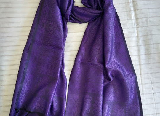 Purple Faux Silk Stole