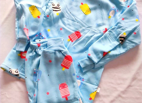 Blue Kitty Kids Night Suit