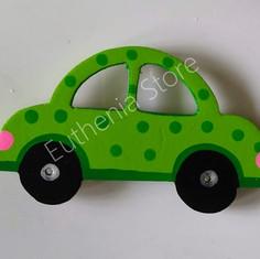 Wooden Green Car Fridge Magnet