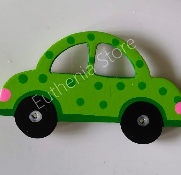 Wooden Green Car Fridge Magnet