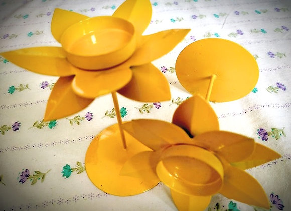 Yellow Floral Candle Holder Set