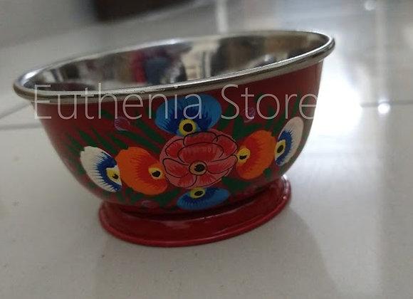Red Floral Bowl Enamelware