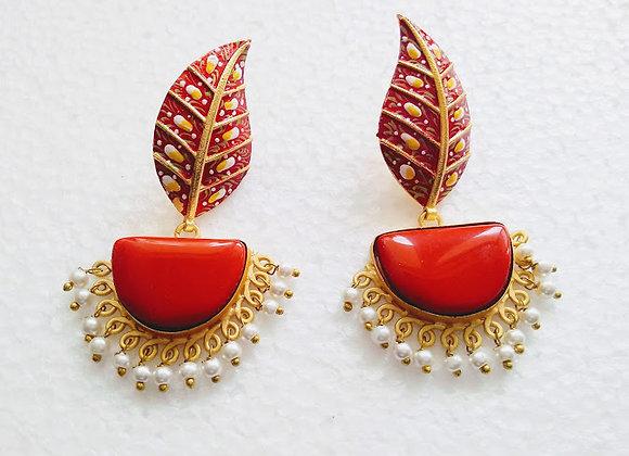 Red Diya Earrings
