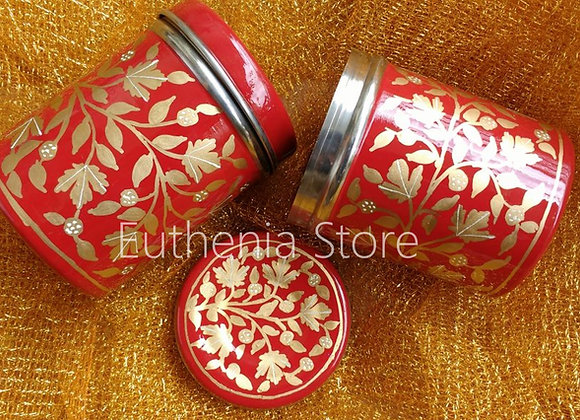 Golden Floral Design Enamelware