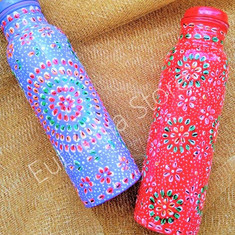 Hand painted copper water bottle