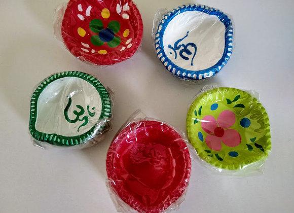 Multicolored Diya Set