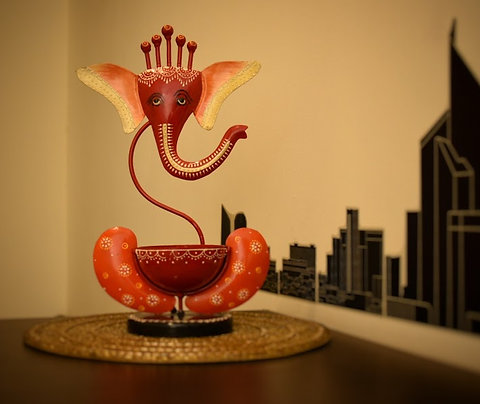 Metal Ganesha Candle Holder