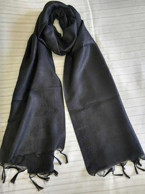 Black Faux Silk Stole