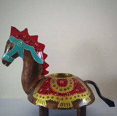 Metal Horse Shaped Candle Holder