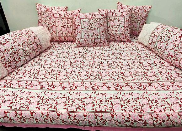 Cotton Diwan Set Pink Floral