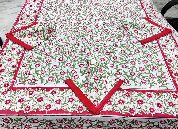 Hand-block Red Green Table Cover