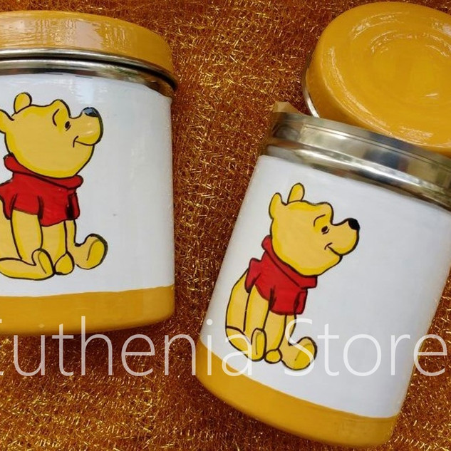 Pooh Design Hand Painted Steel Box
