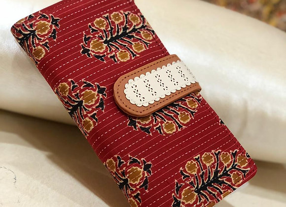 Red Floral Fabric Wallet