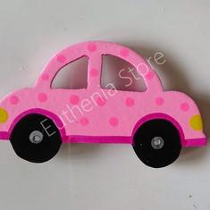 Wooden Pink Car Fridge Magnet