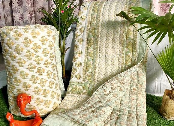 Cream Floral Cotton Comforter