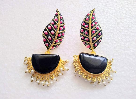 Black Diya Earrings