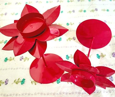 Pink Floral Metal Candle Holder Set