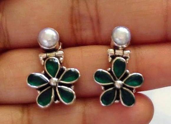 Silver 925 Floral Stud Earrings
