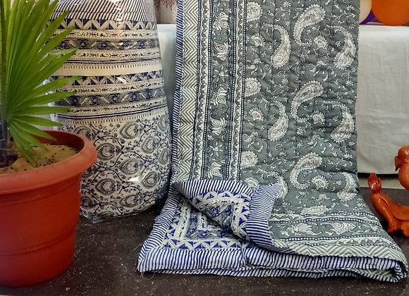 Indigo Blue Grey Cotton Comforter