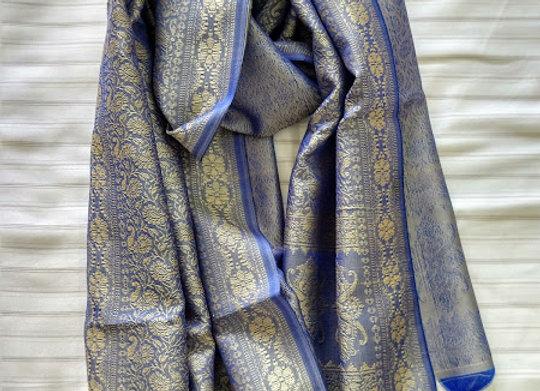 Blue & Silver Faux Silk Stole
