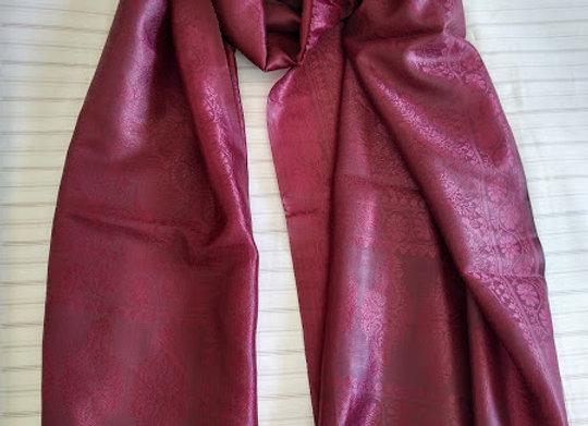 Maroon Faux Silk Stole