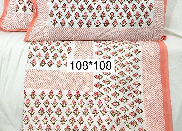Peach Hand-Block Bedsheet