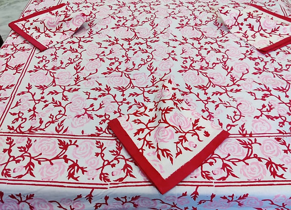 Hand-block Pink White Table Cover