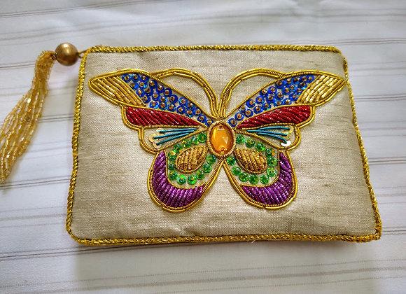 Butterfly Zardozi Coin Zipper Pouch