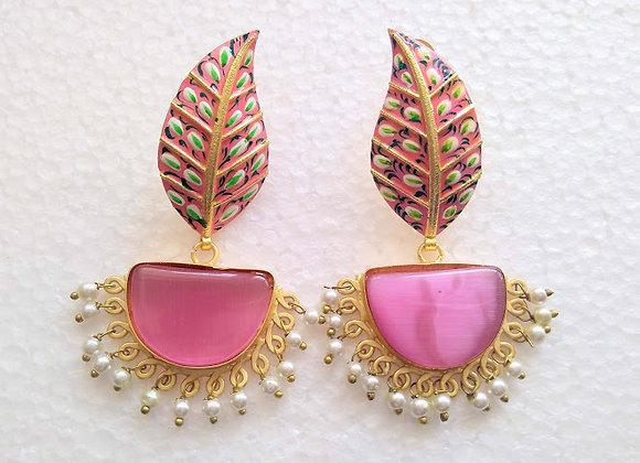 Pink Diya Earrings
