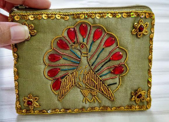 Olive Peacock Zardozi Coin Zipper Pouch