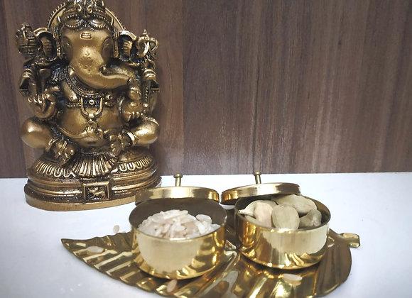 Brass Haldi Kumkum Leaf Platter